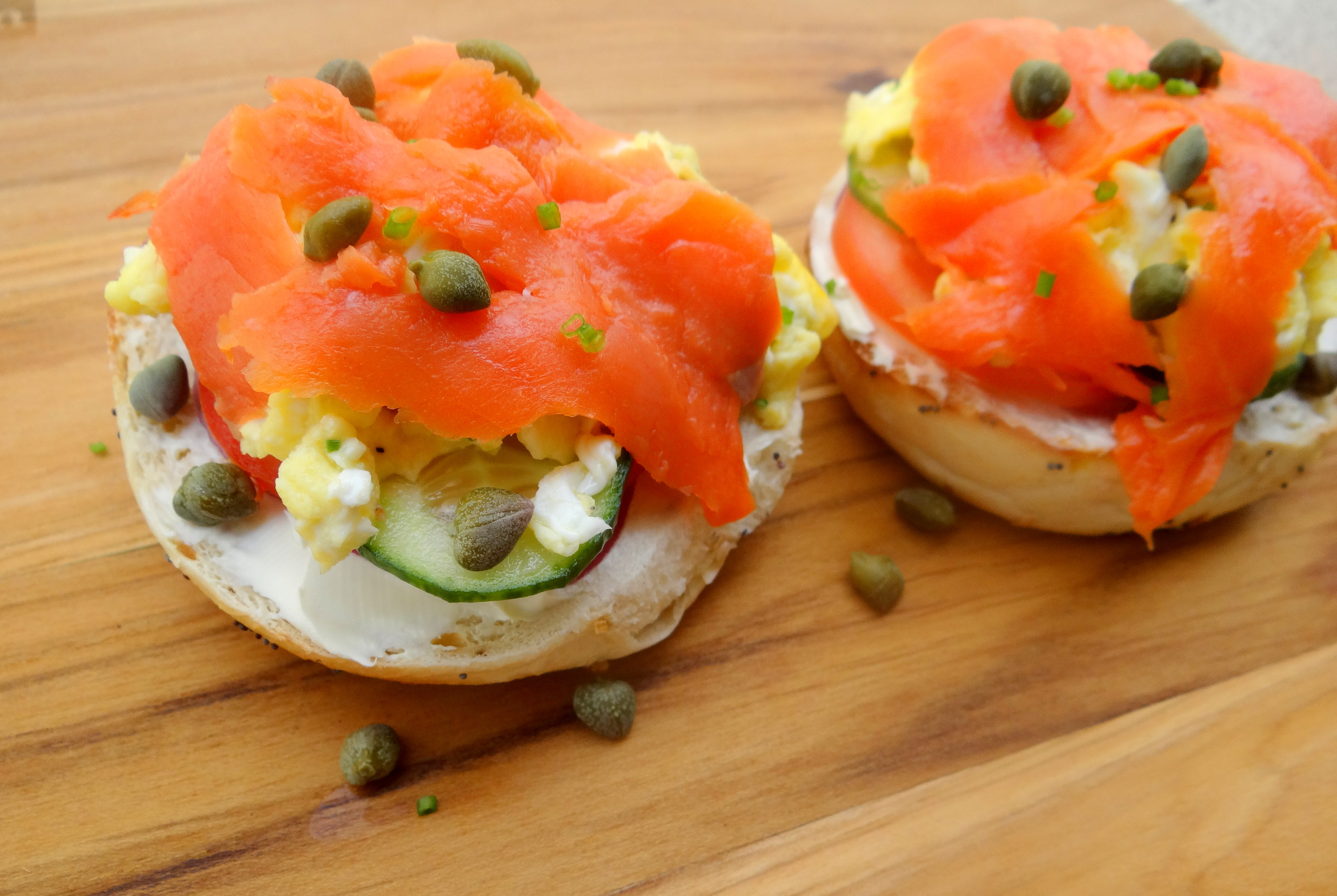 open faced sandwich with smoked salmon & scrambled eggs | delish ...