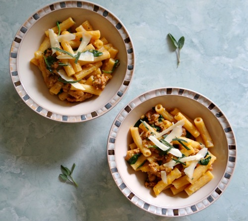 pasta with spicy sausage, baby spinach & creamy butternut sauce ...